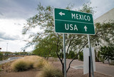 Traffic sign at the US-Mexican border