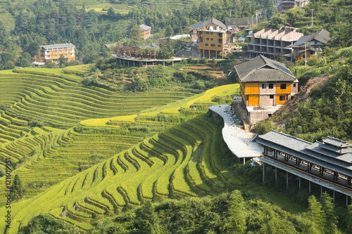 Fotobehang Guilin Yaoshan Mountain, Guilin, China hillside rice terraces landscape in China.