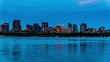 At sunset,the Boston cityscape and Charles River, Boston, USA
