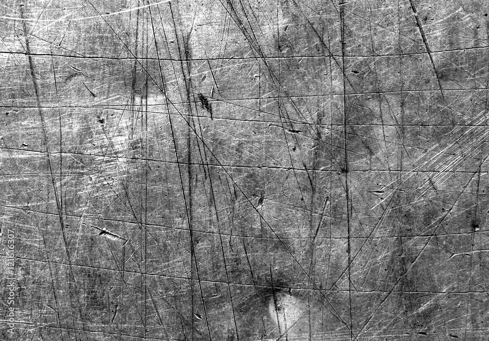 Fototapety, obrazy: Gray scratched metal surface.