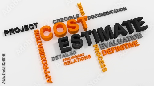 Valokuva  Cost Estimate word cloud over white background