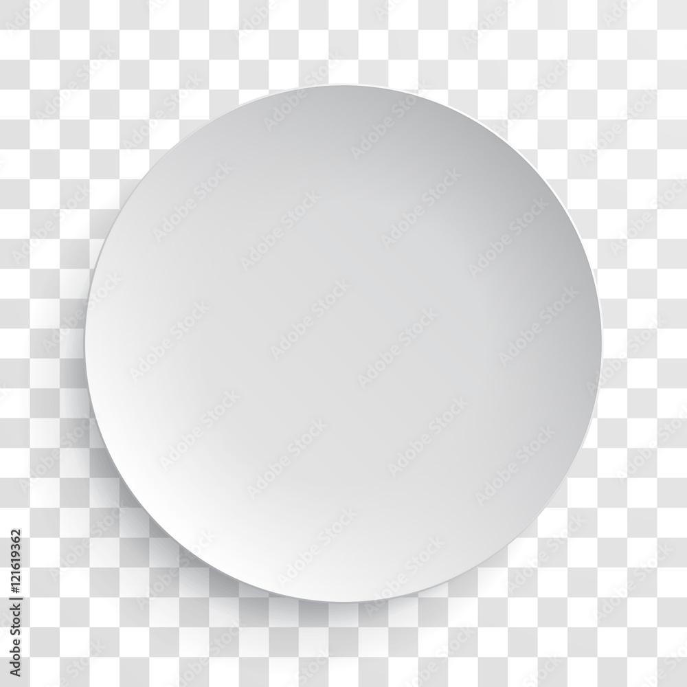 Fototapety, obrazy: Empty white dish plate isolated 3d mockup model
