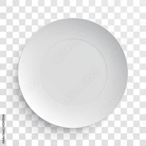 Foto  Empty white dish plate isolated 3d mockup model