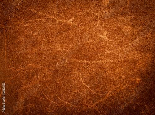 Fotobehang Stof Rustic leather texture.Vintage brown leather background.Rough leather of a riders shoulder bag.