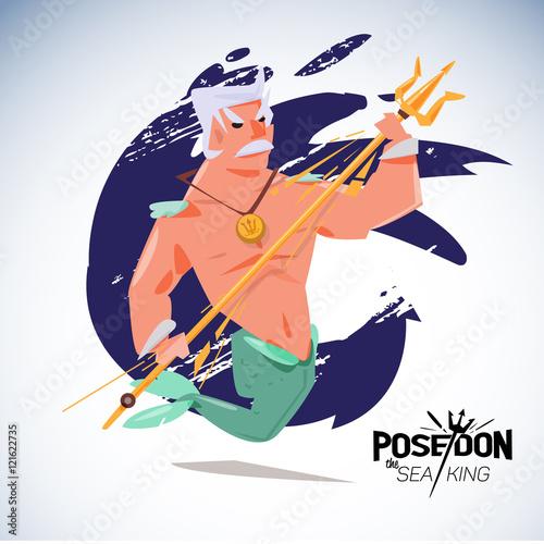 Cadres-photo bureau Pirates poseidon. character design with typographic - vector