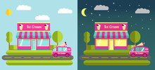Flat Illustration With The Image Of Cafe Of Ice Cream Night And The Car On Delivery And Sale Of Ice Cream.Ice Cream Restaurant And Shop Building Facade.
