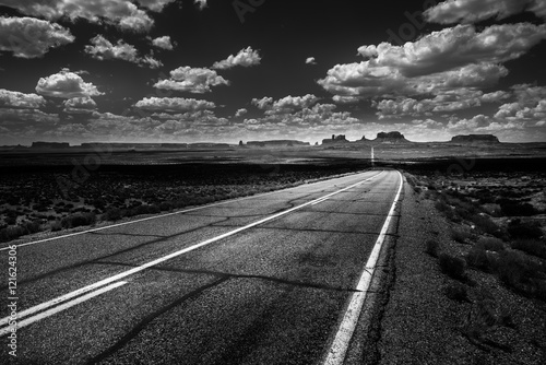 Photo  Hwy 163 toward Monument Vally Forrest Gump Point Black and White
