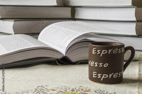 Obraz książka - czas na relaks,  Composition with hardcover books - fototapety do salonu