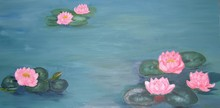 'Water-lilies' Oil Painting Of...