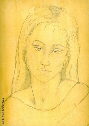 Tuinposter Illustratie Parijs 'Regret' Pencil drawing on sepia background of young woman with sad expression