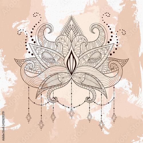 Boho Ornamental Lotus Flower Henna Tattoo Design Indian Paisle