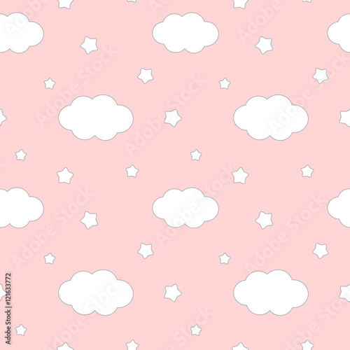 ladny-piekny-bialy-oblok-i-gwiazdy-na-rozowym-tle-bez-szwu-wektor-wzor-ilustracji