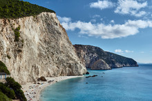 Beach And Rocky Cliff On The Greek Island Of Lefkada.