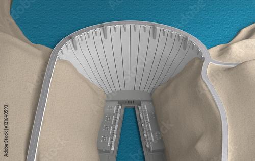 Deurstickers Dam Dam view from above. 3d rendering