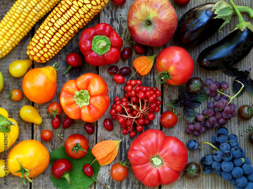 Fotografie, Obraz  orange, red, purple fruits and vegetables
