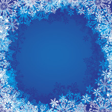 Christmas Blue Frame With Snowflakes