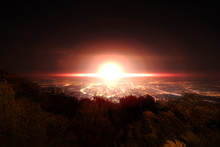 Explosion Of Nuclear Bomb Over City