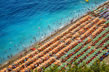 Aerial Photo Of Tourists On A Beach In Positano, Italy