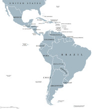 Latin America Countries Political Map With National Borders. Countries From The Northern Border Of Mexico To The Southern Tip Of South America, Including The Caribbean. English Labeling. Illustration.