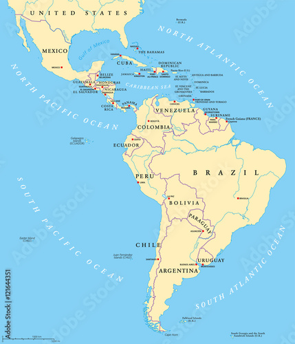Latin America political map with capitals, national borders, rivers ...