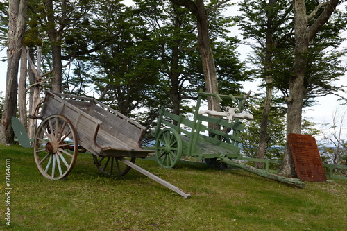 Old wagon settlers in Tierra del Fuego on the shores of Lago Blanco