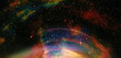 canvas print picture - Cosmic space and stars with light circle, color cosmic abstract background.