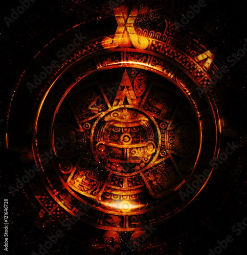 Fotografía  Ancient Mayan Calendar, abstract color Background, computer collage