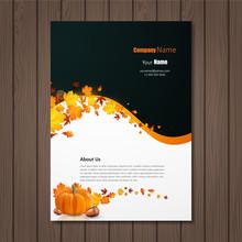 Brochure With Autumn Leaves And Pumpkin. Vector Autumn Design. Fall Theme.