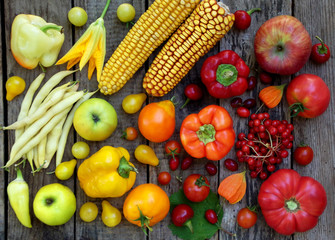 red, yellow vegetables and fruits