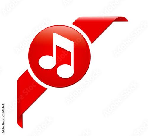 Note De Musique Sur Bannière Coin Rouge Buy This Stock