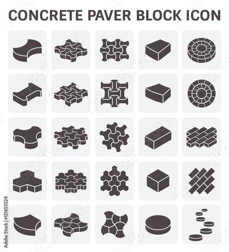 Obraz na plátně Concrete paver block or paver brick vector icon sets.