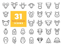 Farm Animals Outline Icons Set...