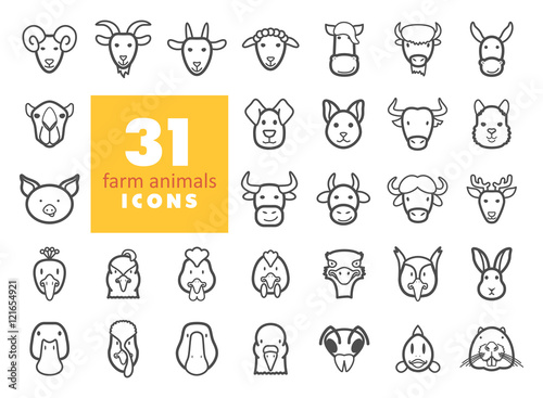 Farm animals outline icons set. Vector head Poster Mural XXL