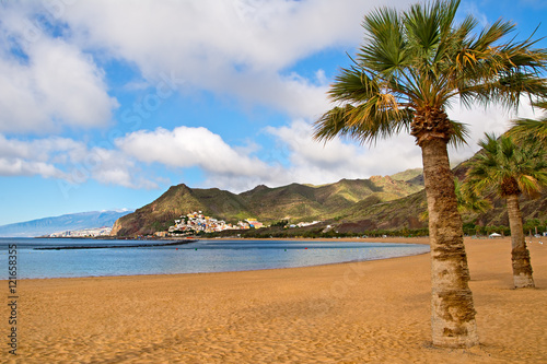 Tuinposter Canarische Eilanden Canary Islands, Tenerife. Beach las Teresitas with yellow sand.