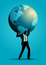 Businessman Carrying Globe On ...