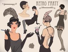 Flapper Girl Set: Retro Women Of Twenties