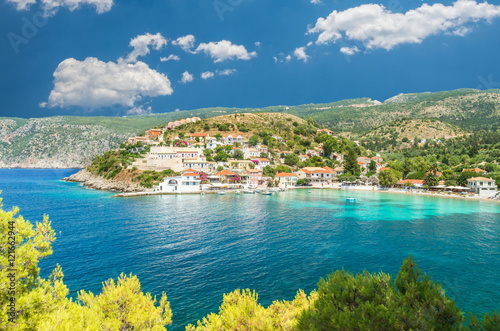 Fototapety, obrazy: Assos on the Island of Kefalonia in Greece. View of beautiful bay of Assos village, Kefalonia island, Greece
