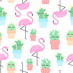 Obraz Flamingo with cacti in cute pots seamless pattern. Simple cartoon plant vector illustration. Child drawing style cute cactus with tropical bird background.