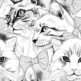 Seamless pattern with image of a cat portrait in tie. Vector illustration. - 121671969
