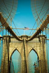 Vintage toned view of Brooklyn Bridge in New York City