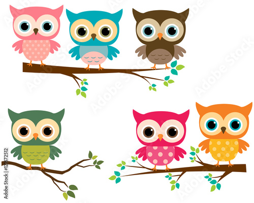 Deurstickers Uilen cartoon Vector Collection of Cute Cartoon Owls and Tree Branches
