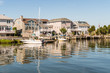 Houses and boats on Little Egg Harbor, Long Beach Island, New Jersey