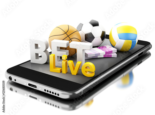 Fotografía  3d Smartphone with sport balls, money and bet live. Betting conc