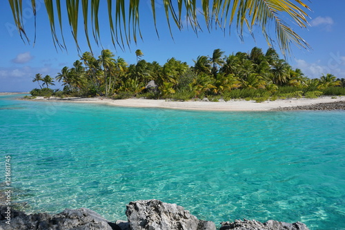 Spoed Foto op Canvas Eiland Tropical islet with turquoise water of a shallow channel (hoa) between the ocean and the lagoon, atoll of Tikehau, Tuamotu archipelago, French Polynesia, Pacific ocean