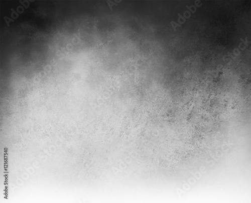 black and white vector background with cloudy white center and gradient black grunge texture on top border, silver gray background with black corners