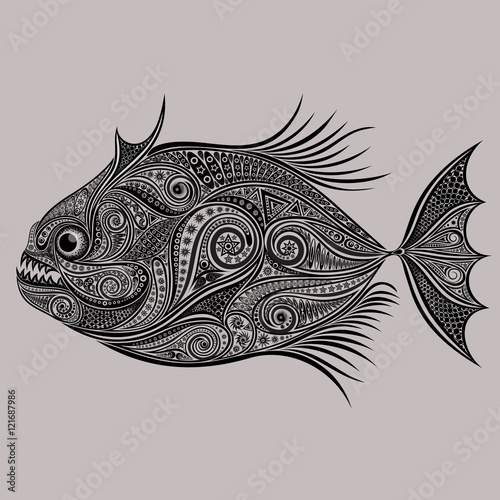 Valokuva  Vector drawing of piranhas from a variety of patterns