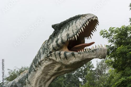 Fotografering  Plastic head dinosaur Allosaurus.