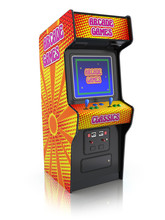 Colorful Retro Arcade Game Machine With Abstract Design
