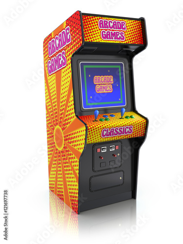 Colorful retro arcade game machine with abstract design Fototapete