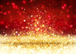 canvas print picture - Christmas Background - Golden Glitter On Shiny Red